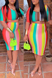 Rainbow Striped Half Sleeve Top & Midi Skirt