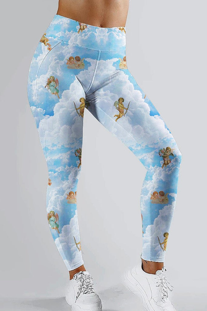 High-elastic Digital Print High Waist Leggings