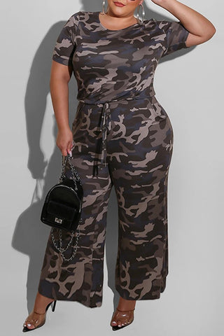 Whatwears coupon: Camouflage Print Plus Size Drawstring Jumpsuit