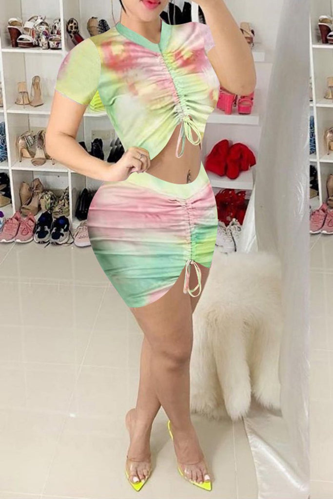 Wrinkled Tie Dye High Waist Two Piece Dresses