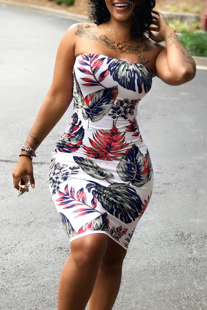 Sleeveless Plus Size Flower Printed Bodycon Dress