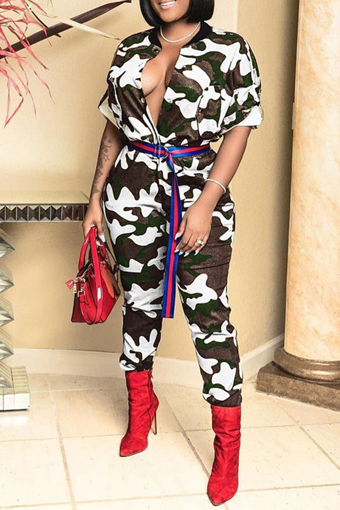 Waisted Camouflage Print Button Jumpsuit Without Belt