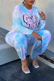 Tie Dye Letter Print Long Sleeve Top & Pants