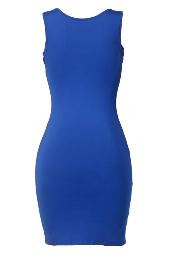 Sleeveless Hollow Out Solid Bodycon Mini Dress
