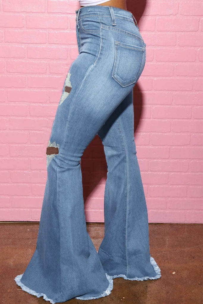 Plus Size Denim Hole Distressed Flare Jeans
