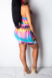Tie Dye Pierced Off One Shoulder Mini Dress