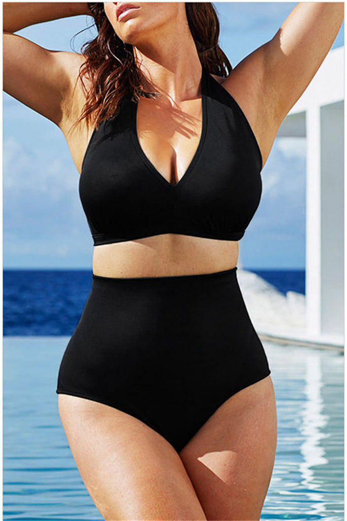 High Waisted Solid Color Two-Pieces Swimwear
