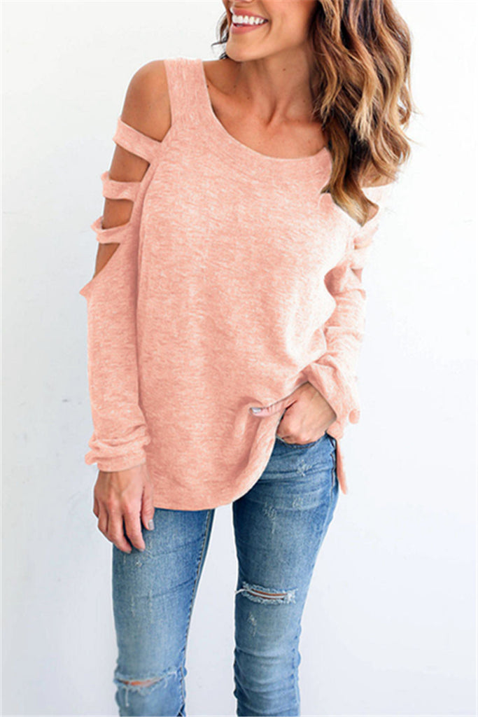 Hollow Out Shoulder Long Sleeve Round Neck Shirt