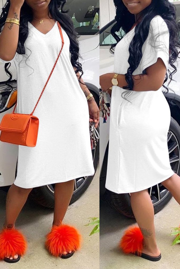 Solid Color V-neck Pocket Short Sleeve T-shirt Midi Dress