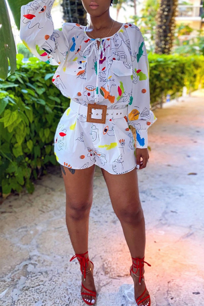 Digital Print Tie Up Romper Without Belt