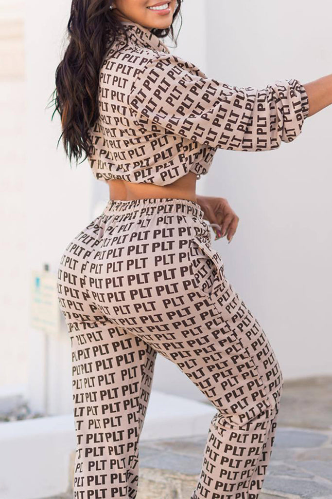 Fashion High Neck Letter Print Two Piece Outfits