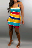 Rainbow Striped Ruffle Spaghetti Straps Mini Dress