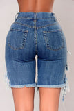 High-elastic Distressed High Waist Denim Shorts