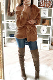 Solid Color Long Sleeve Hooded Collar Jacket