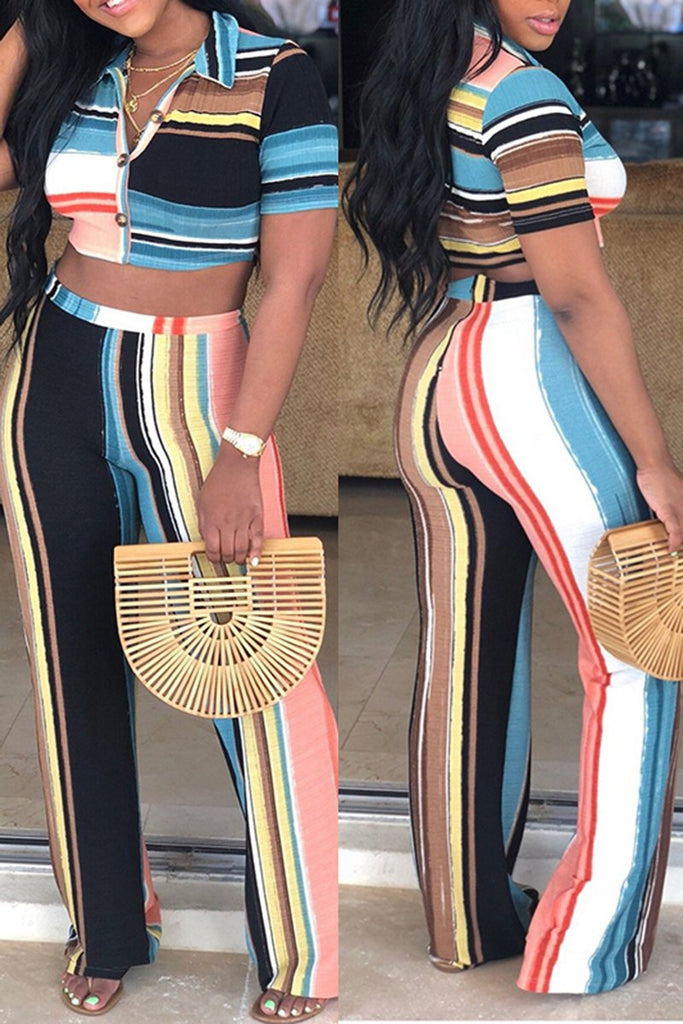 Button Color Block High Waist Two Piece Sets