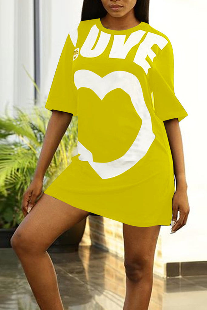 Cartoon Printed Short Sleeve Casual Dress - WHATWEARS