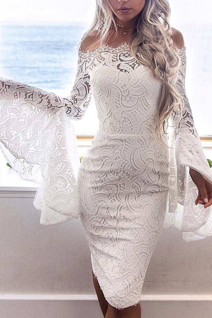 Lace Trumpet Sleeve Solid Color Bodycon Dress