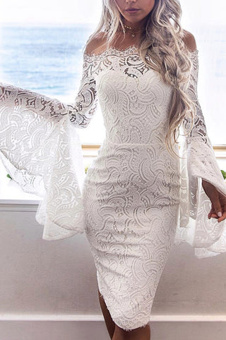 Lace Trumpet Sleeve Solid Color Bodycon Dress WhatWears