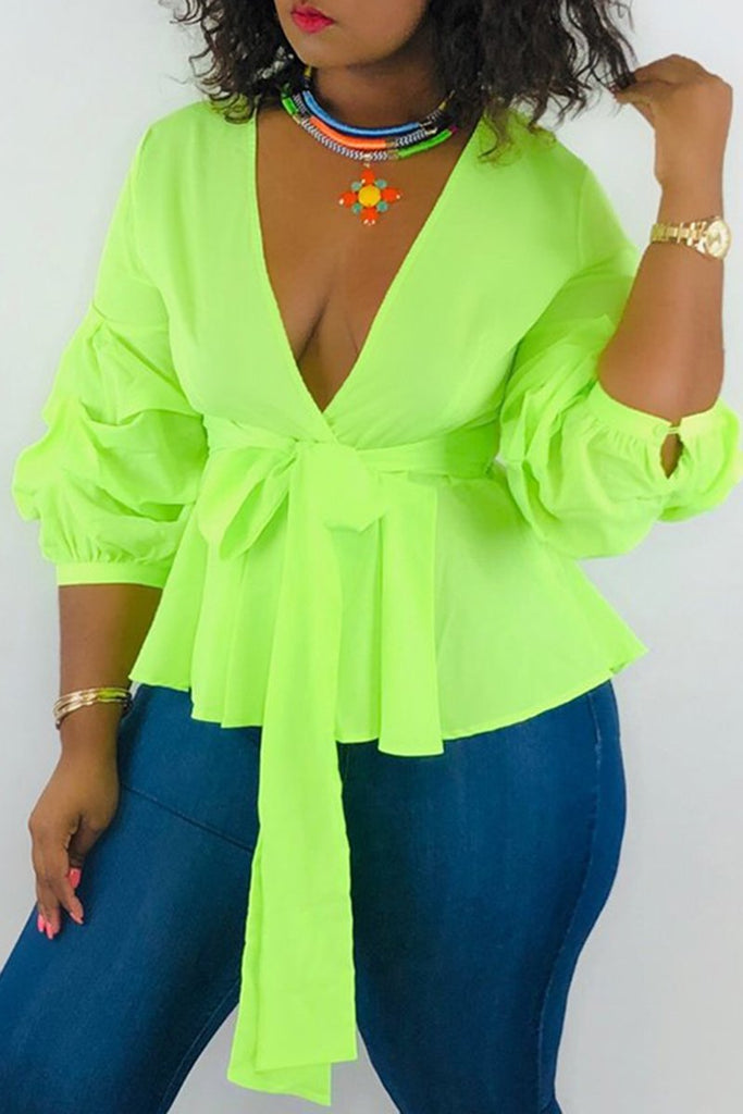 Puff Sleeve Bowknot Ruffled Casual Blouse