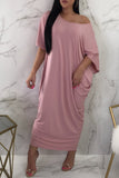 Casual Short Sleeve Skew Neck Solid Maxi Dress - WHATWEARS