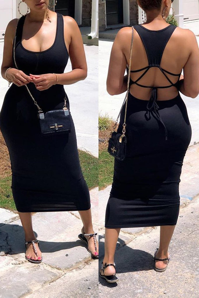 Scoop Neck Back Bandage Sleeveless Maxi Dress