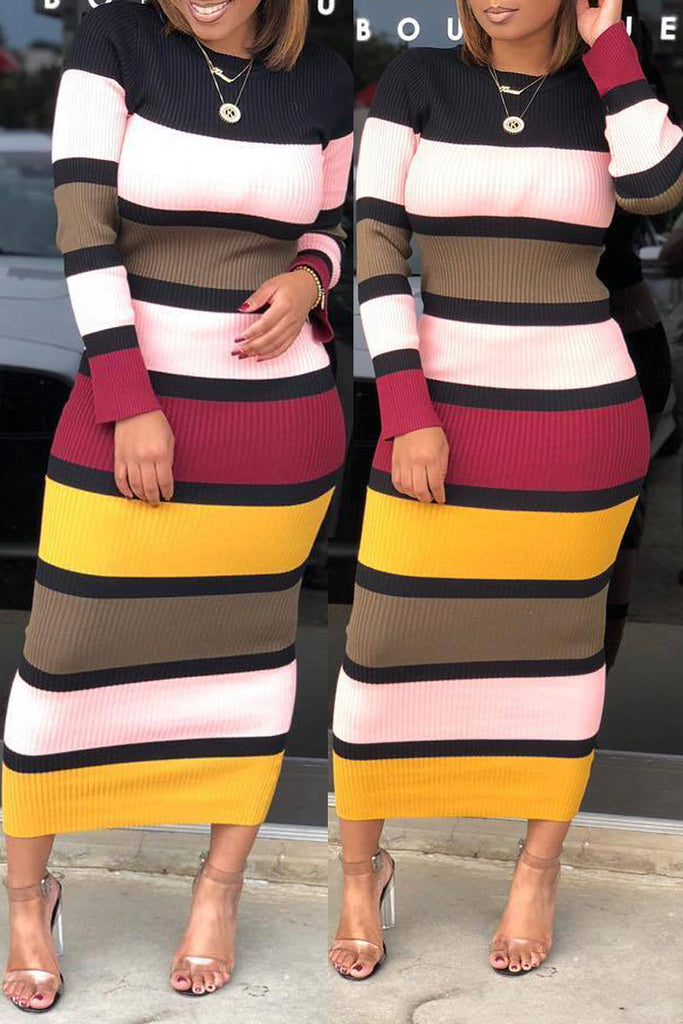Casual Stripe Print Long Sleeve Midi Dress - WHATWEARS