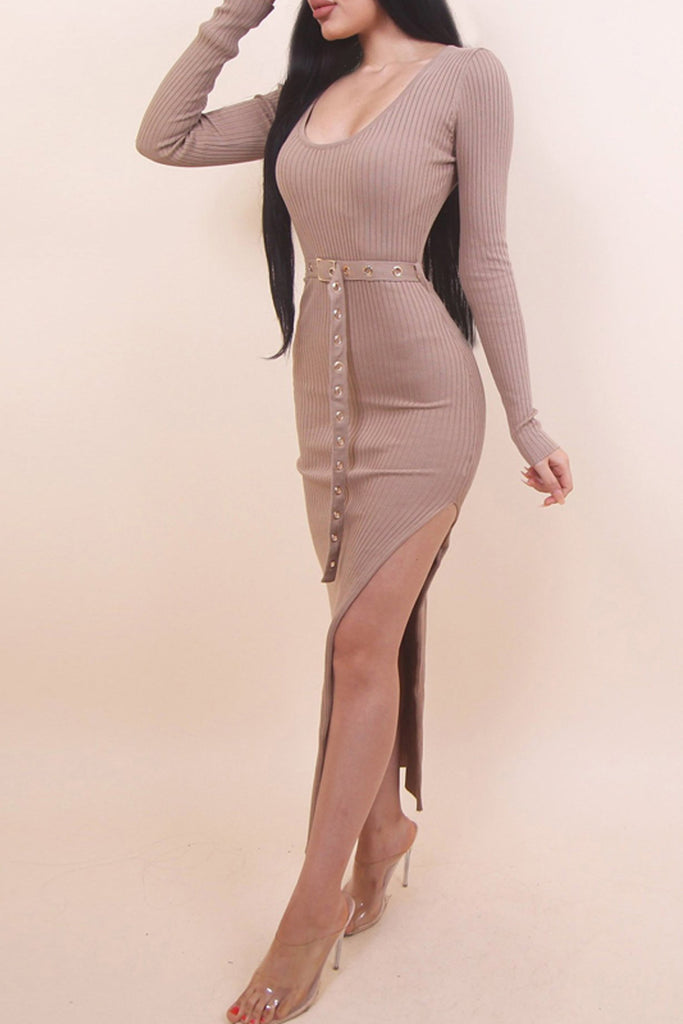Solid Color Scoop Neck Side Slit Midi Dress With Belt
