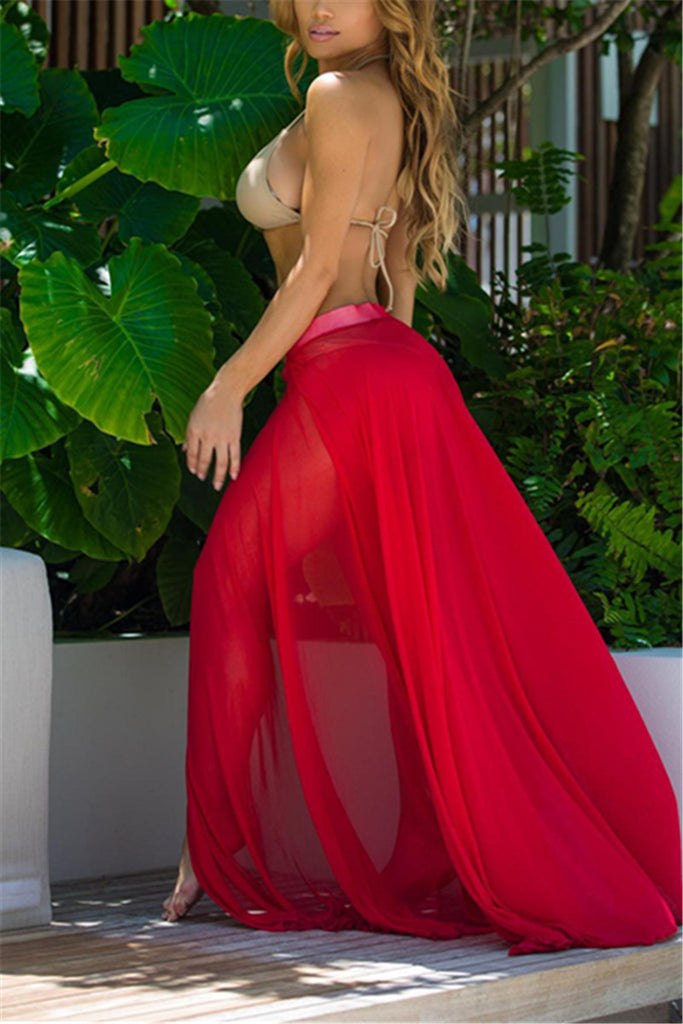 b0979544902d2 Sheer See-Thru Maxi Skirt with Slit Beach Swimwear Cover Up Party ...
