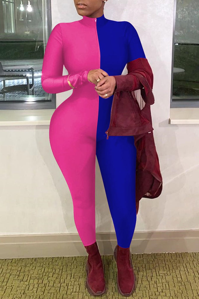 Color Block Zip Up Long Sleeve Bodycon Jumpsuit