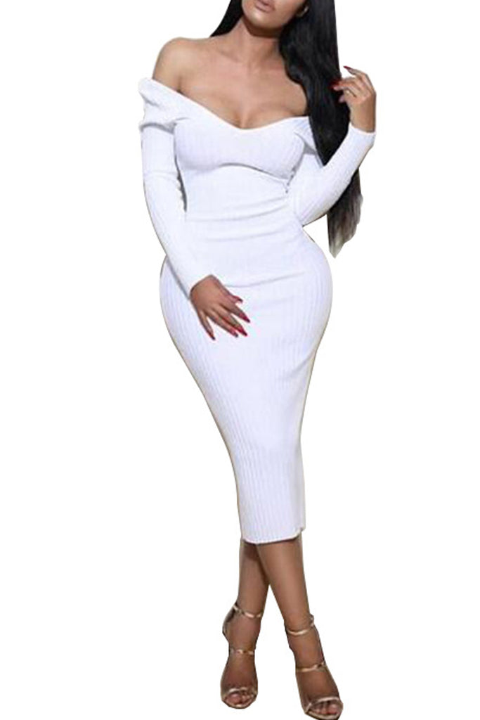 4f8ad73cec7d Sexy Solid V-neck Long Sleeve Midi Dress – WHATWEARS