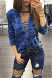 Camo Print Lace Up Top - WHATWEARS
