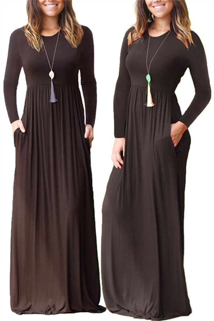 Loose Plain Casual Pockets  Maxi Dress