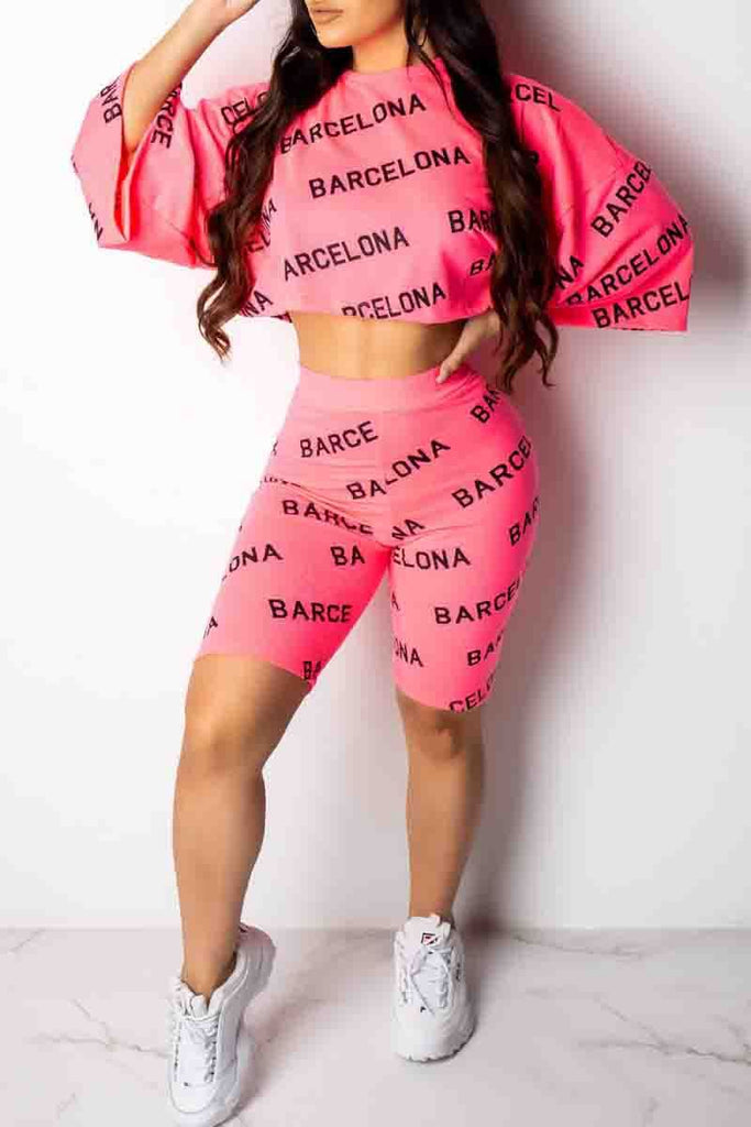 Casual Digital Print Half Sleeve Two Piece Outfits