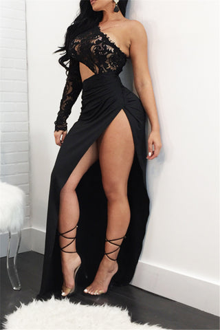 Black One Sleeve Maxi Gown