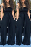 Solid Halter Neck Open Back Sleeveless Wide Leg Jumpsuit