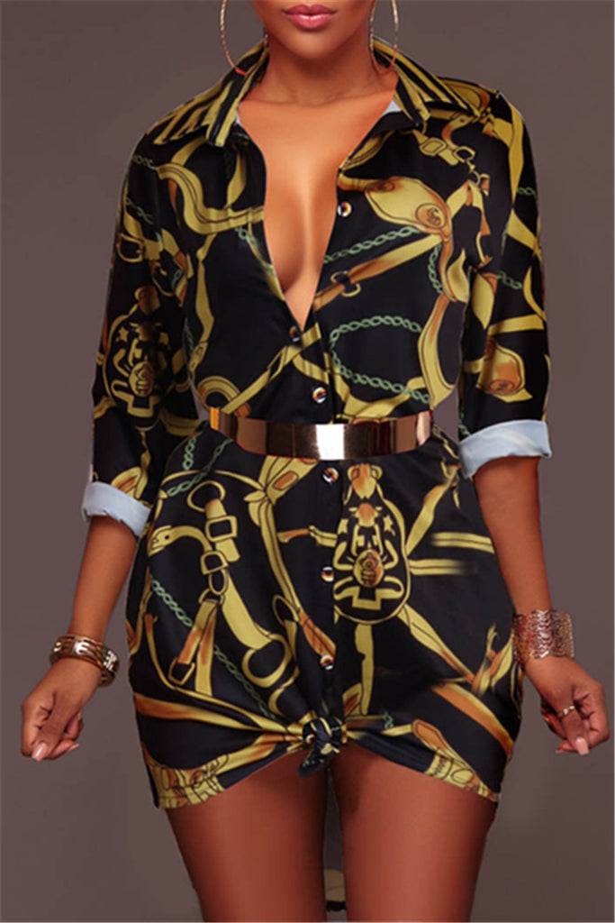 Deep V Print Mini Shirt Dress - WHATWEARS