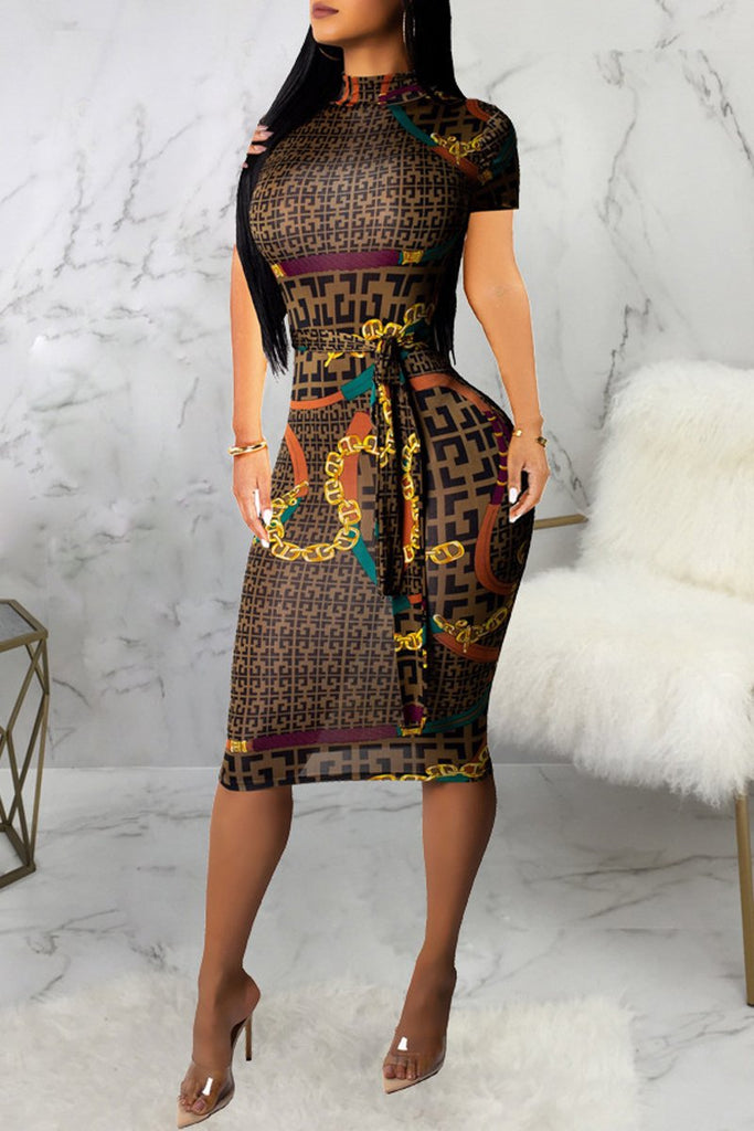High Neck Print Short Sleeve Zipper Belted Bodycon Midi Dress