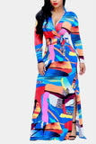 Wrap Over Print Maxi Dress