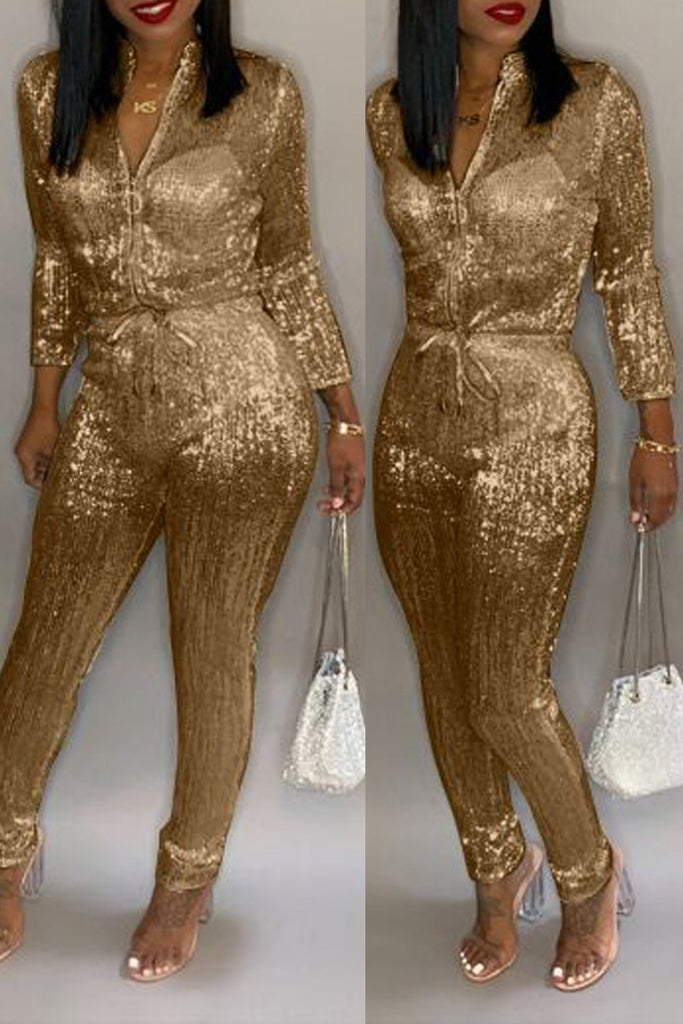 Plus Size Hot Drilling Long Sleeve Belted Jumpsuit