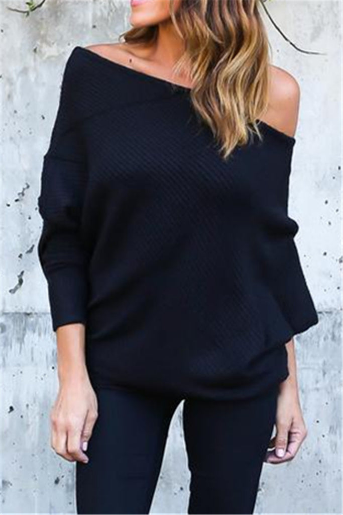 Slash Neck Casual Sweater