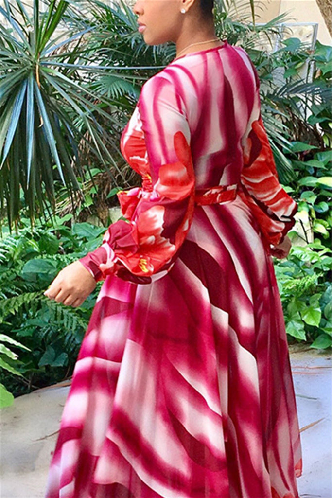 Long Sleeve Pink or Blue Maxi Gown