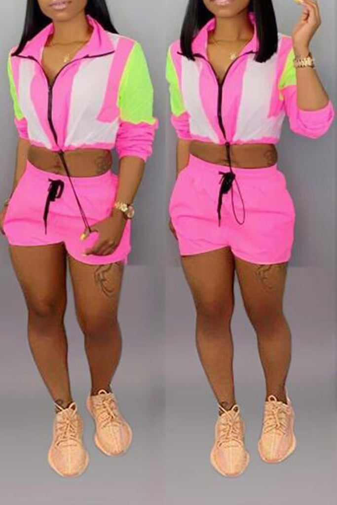 Turndown Collar Fluorescent Color Block Top & Shorts