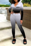 Hooded Zipper Gradient Color Two Piece Sets