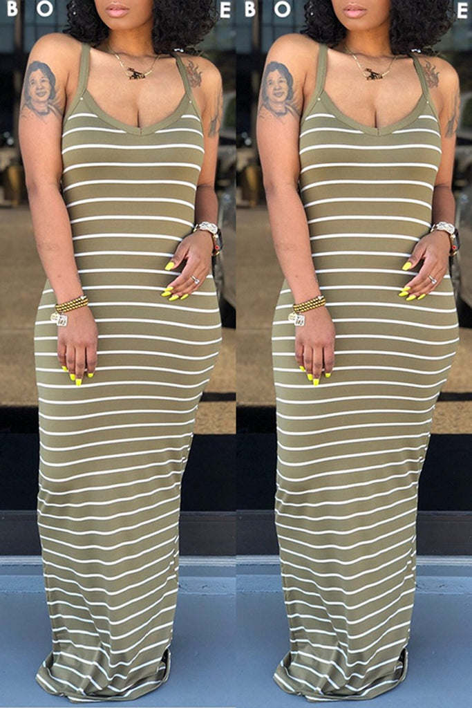 Scoop Neck Striped Sleeveless Maxi Dress