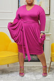 Wrinkled Ruffled Plus Size Solid Dress With Belt