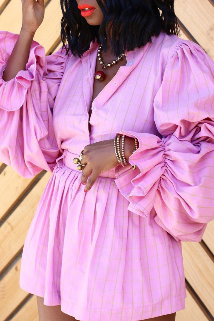 Lantern Sleeve Ruffled Beltted Two Piece Sets