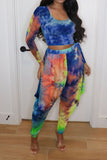Tie Dye Square Collar Lantern Two Piece Sets
