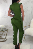 Sleeveless Fungus Edge Zipper Solid Color Casual Jumpsuit