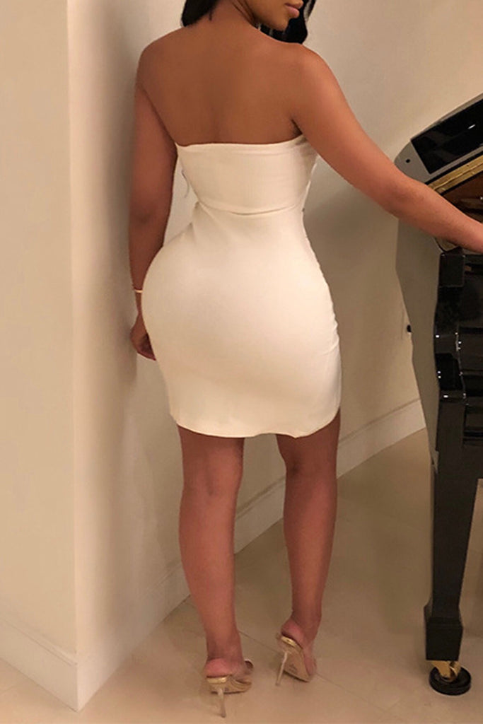 sexy Solid Color Off The Shoulder Asymmetric Mini Dress