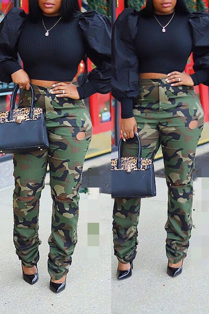 Camouflage Printed Hole Distressed Ruffle Pants